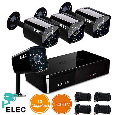 ELEC 8CH 1500TVL 960H DVR In/Outdoor IR Video Record Home Security Camera System