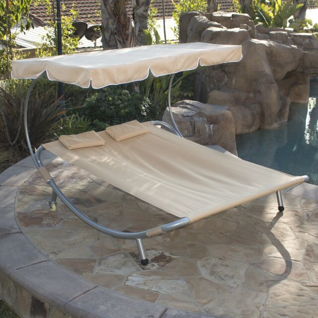 Hammock Style Double Chaise Lounge Pool Deck Patio Sun Shade Outdoor W Canopy