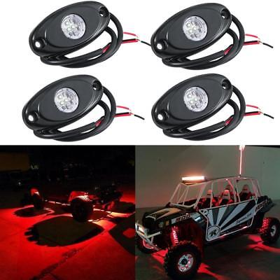 4X RED LED Rock Light w/4Pods Lights for JEEP Off Road Truck Car ATV Under Body