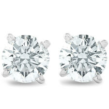1 1/4ct 14K White Round Cut Studs Earrings Screw Back
