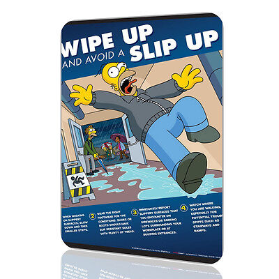 METAL SIGN The Simpsons Wipe Up And Avoid a Slip Up POSTER Decor Wall Home
