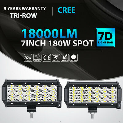 2X Tri-Row 7Inch 180W Cree Led Work Light Bar SPOT Offroad Driving 4WD Truck 6""