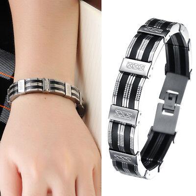 Herren Armband Edelstahl Silikon Schwarz Silber Armreif Armkette Bracelet 21 cm