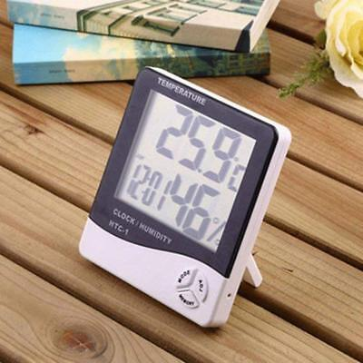 Thermometer Indoor Digital LCD Hygrometer Temperature Humidity Meter Alarm White