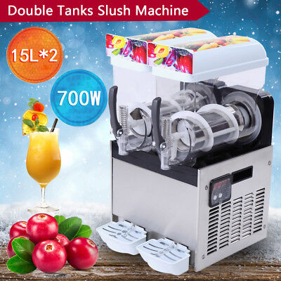 2 Tank Commercial Frozen Drink Slush Slushy Make Machine Smoothie Maker