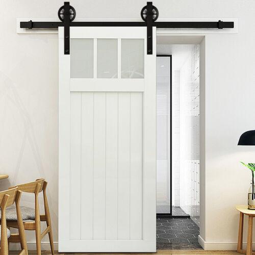 6.6FT Solid Alloy Sliding Rolling Barn Door Hardware Kit for Single Wood Door