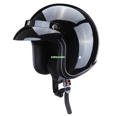 Vintage Retro Large Gloss Black Dot Adult Motorcycle Safety 3/4 Open Face Helmet ()