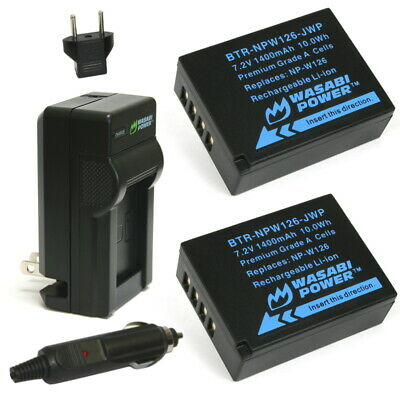 Wasabi Power Battery (2-Pack) and Charger for Fujifilm NP-W126, NP-W126S Camcorder Power Kit