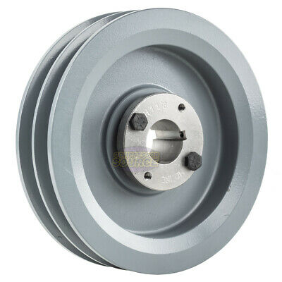 Cast Iron 6.75 2 Groove Dual Belt B Section 5l Pulley W 1-18 Sheave Bushing
