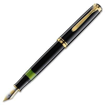 Pelikan Souveran M600 Fountain Pen - Black Gold Trim - Medium Point - 980136 NEW