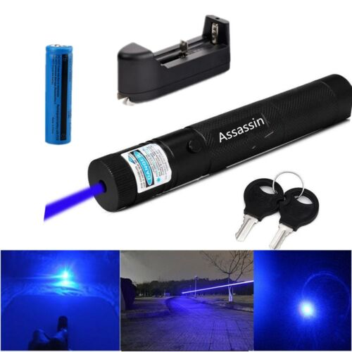 Military Blue purple Laser Pointer Pen Powerful 10Miles 5mW 405nm+Batt+Charger