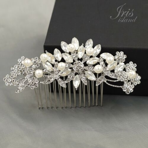 Bridal Hair Comb Pearl Crystal Headpiece Hair Clip Pin Wedding Accessories 09225