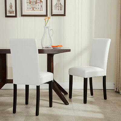 Set of 2 Elegant Design Modern White Leather Parson Dining Chairs Furniture NEW