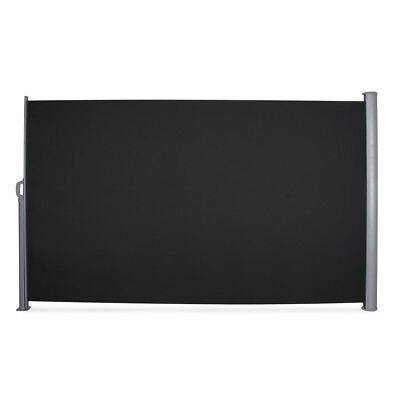 Patio Retractable Folding Side Awning Screen Privacy Divider 9.8 x 5.2ft, Black