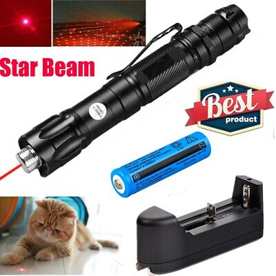 1mw 900 Miles 650nm Red Star Beam Laser Pointer Pen Rechargeable Torchcharger