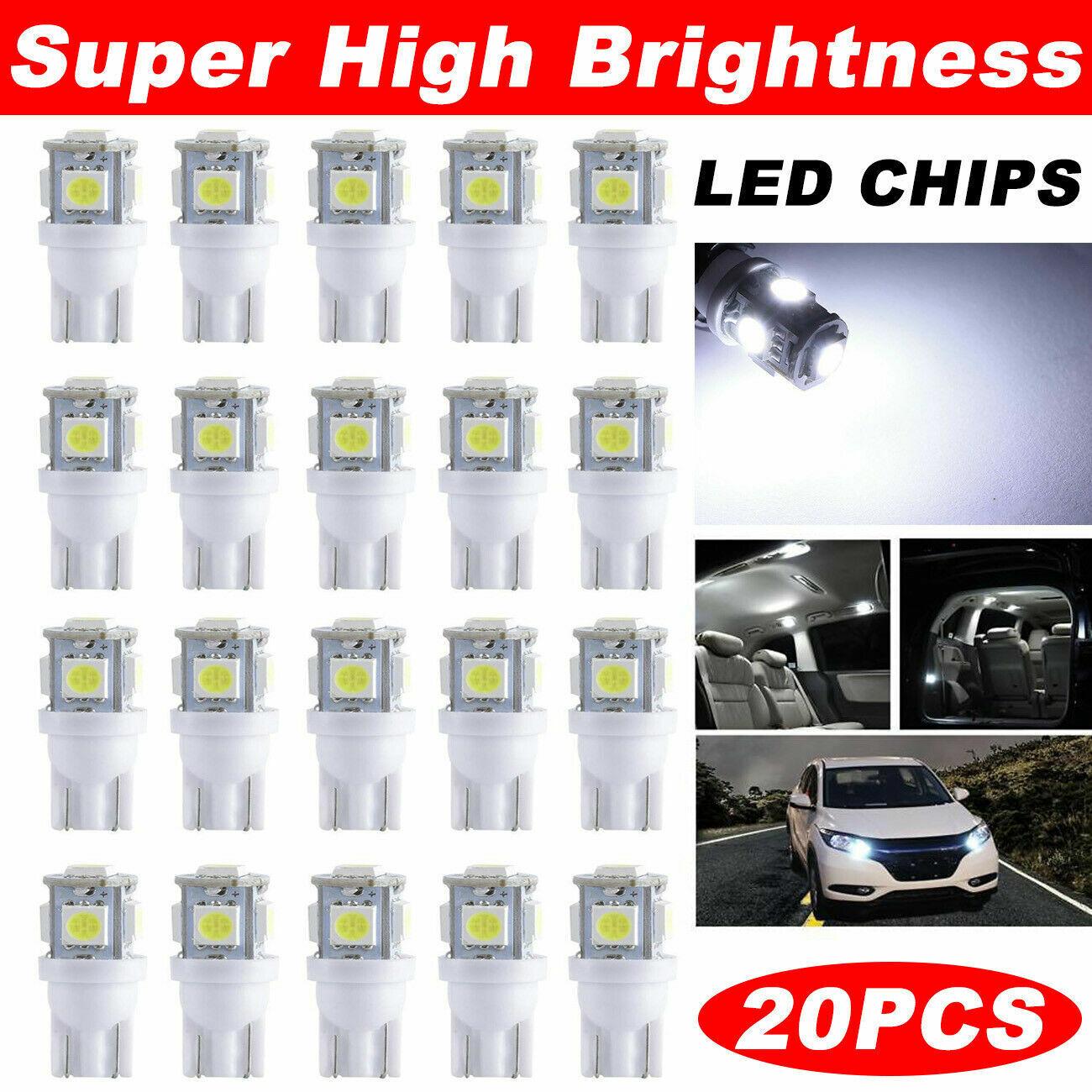 10Pcs T10 5050 5SMD White LED Car Light Wedge Lamp Bulbs Super Bright DC 12V HOT