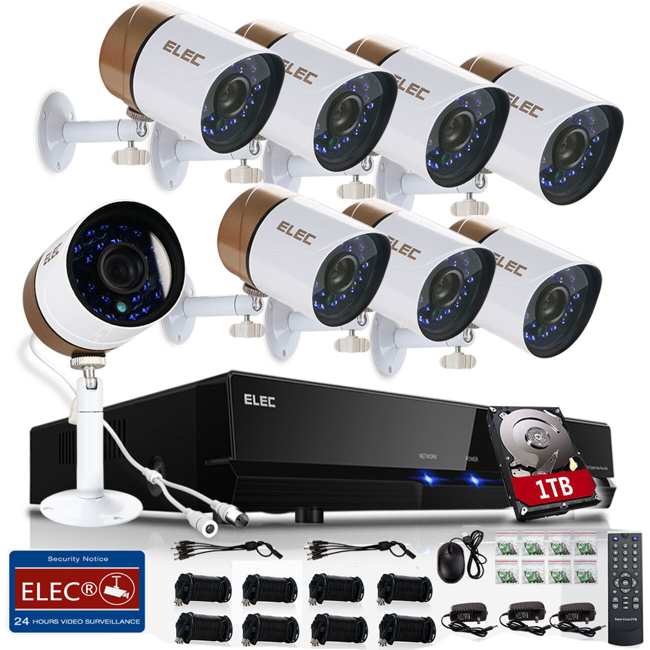 ELEC 8CH 1080P HDMI 1500TVL DVR CCTV IR-Cut Home Security Camera System 1TB HDD