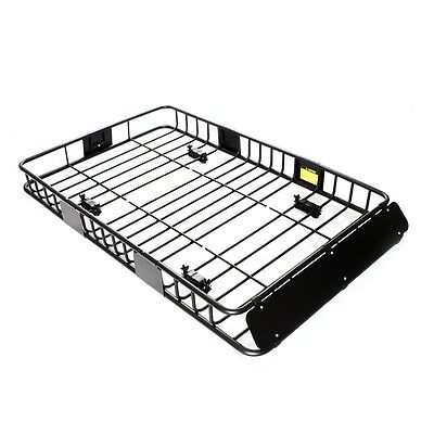 """64"""" Black Universal Roof Rack w/Extension Cargo Top Luggage Carrier Basket"""