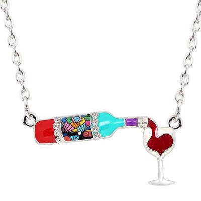 Enamel Alloy Red Wine Bottle Heart Necklace Pendant Chain For Women Gift - Wine Bottle Jewelry