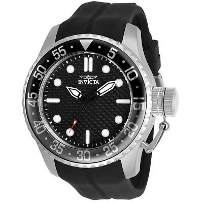 Invicta Men's Watch Pro Diver Carbon Fiber Black Dial Silicone Strap 30725
