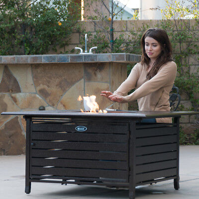 - 40,000 BTU Square Gas Outdoor Fire Pit Home Table Top Lid with Doors- Bronze