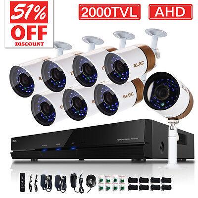 2000TVL 8CH 1080N HDMI DVR 720P Night Vision CCTV Home Security Cameras System