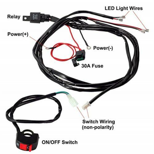 Wiring Harness Kit 40a 12v Led Work Light Bar On  Off