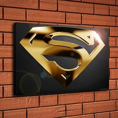 Superman Gold Logo Painting HD Print on Canvas Home Decor Room Wall Art (Superman Picture)