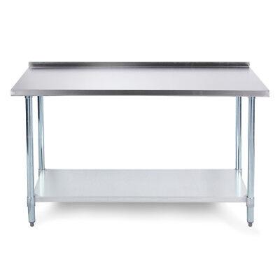 72 X 24 18 Gauge Stainless Steel Kitchen Utility Work Table W Backsplash