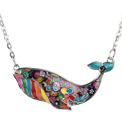 Enamel Whale Charm (Enamel Alloy Ocean Whale Necklace Pendant Choker Women Alloy Animal)