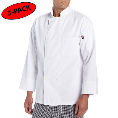 8 Button Chef Coat - 3 PACK Dickies Chef Coat 8 button Long Sleeve Chef Jacket DC118