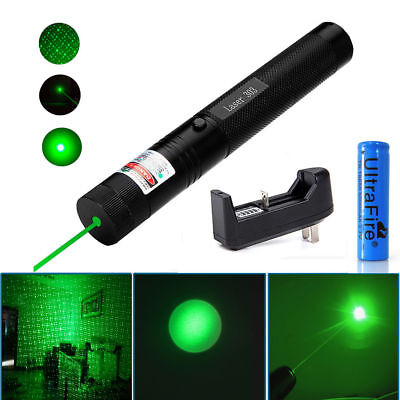 1pc 532nm Green Laser Pointer Pen 1Mw Visible Beam Light + 18650 Battery&Charger