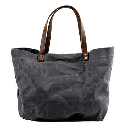 Waxed Canvas Shoulder Tote Bag Travel Handbags Water Repellent Dirt Resistant](Extra Large Tote Bag)