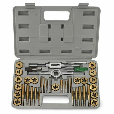 40 Pc Titanium Coated Sae Tap And Die Set Standard Heavy Duty