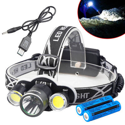 Hunting 90000LM T6+COB LED Rechargeable Headlamp + USB Cable&18650 Battery USA