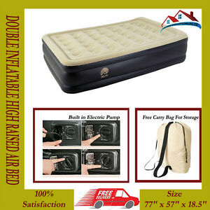 Double Size Inflatable Raised Air Bed Flocked Mattress Electric Pump Airbed