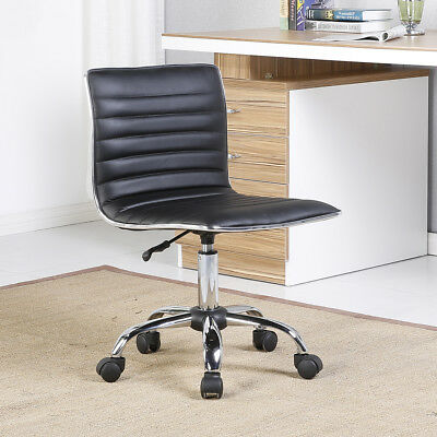 Modern Mid-back Black Ribbed Upholstered Pu Leather Executive Office Chair Desk