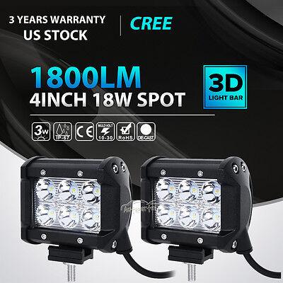2pcs 4inch 18W CREE LED Work Light Bar 4WD Offroad Spot Fog ATV SUV Driving Lamp