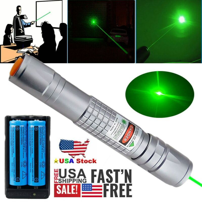 900Mile Green Laser Pointer Pen Rechargeable 1mW 532nm Grade Visible Lazer Light
