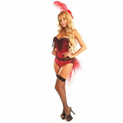 Women's Flamingo Sexy Short Skirts Costumes Set Cosplay Suits Christmas RED