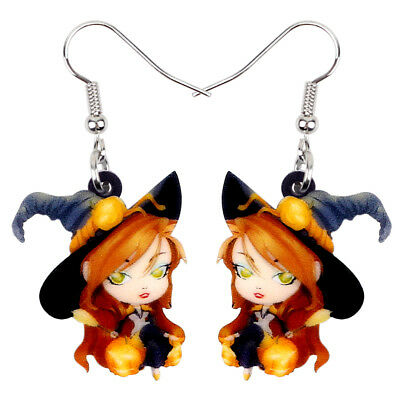 Acrylic Halloween Magical Witch Earrings Drop Dangle Fashion Jewelry For Women