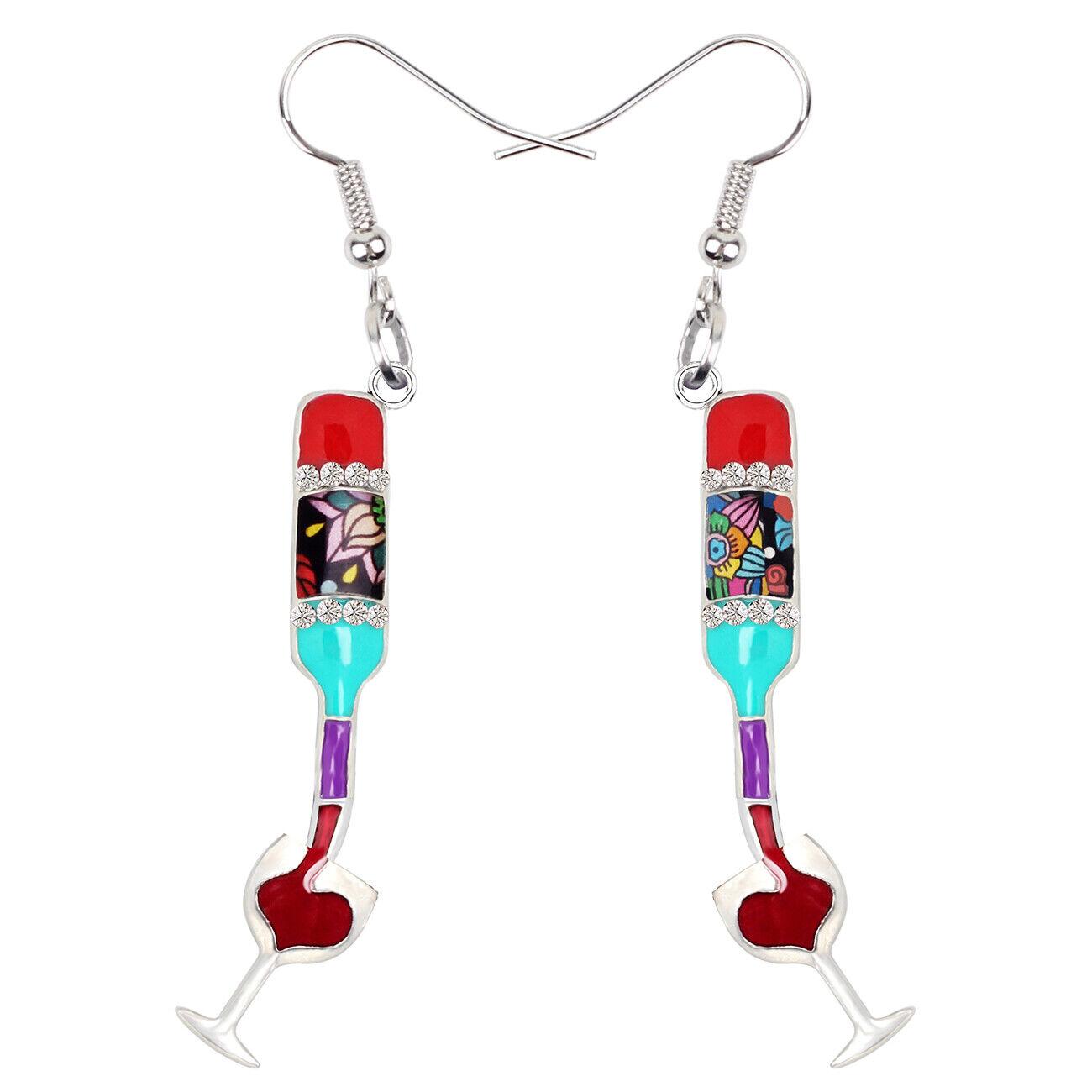 Enamel Alloy Wine Cup Champagne Bottle Earrings Dangle For W