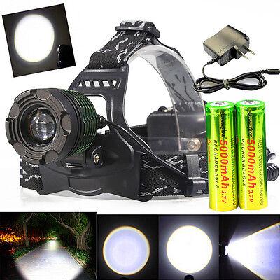 5000Lumen CREE XM-L T6 Led Headlamp Headlight Flashlight+2X18650 Battery+Charger