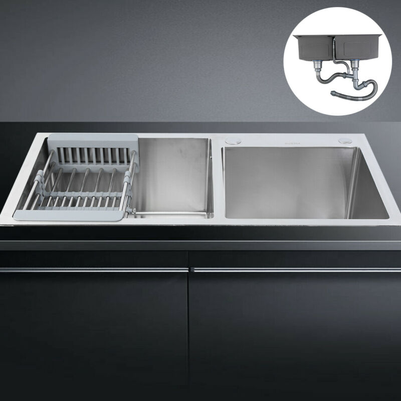 Stainless Steel Double Bowl Kitchen Sink Wash Basin Top/Unde