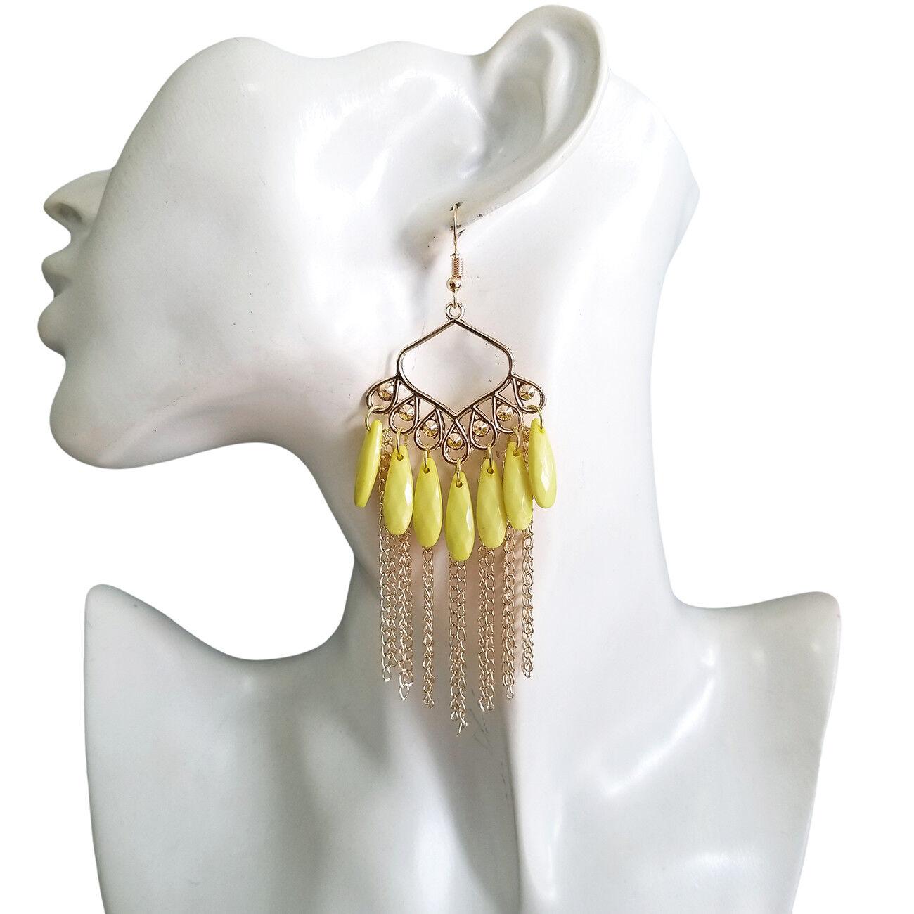 Resin Flower Cabochons Assemblage Jewelry Yellow Bead Earrings Yellow Earrings Vintage Bead Drop Dangle Earrings Silver Plated Hanger
