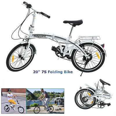 Ridgeyard Bicicleta Plegable de Acero al Carbono 20 Pulgadas 7 Velocidades Plata
