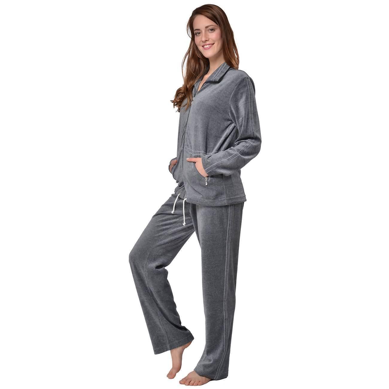 Freizeitanzug Damen Hausanzug Velour Fitnessanzug Loungewear Nicki Anzug
