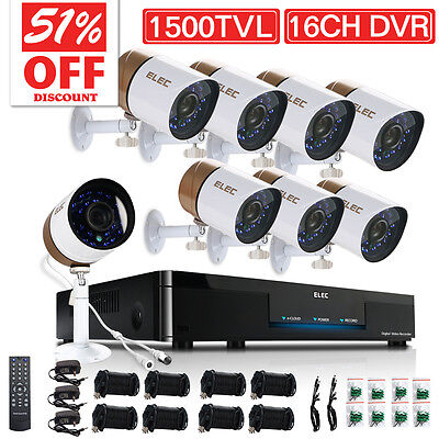 ELEC® 1500TVL Home Night Wired Security Camera System 16CH 960H CCTV DVR 1.0MP