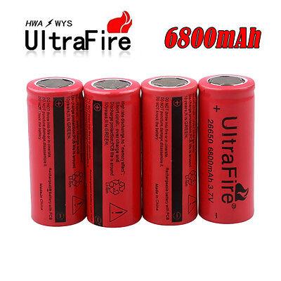 4x UltraFire 3.7V 6800mAh Rechargeable 26650 Li-ion Battery For Flashlight Torch