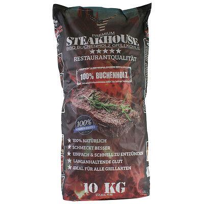 STEAKHOUSE Grillkohle 10 kg aus 100% Buchenholz BBQ Holzkohle